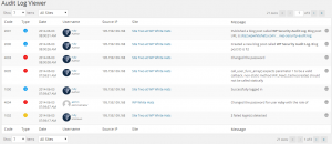 Audit Log Viewer displaying WordPress users roles and avatars