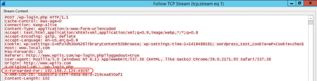 HTTP Headers of an HTTP Request originating from a Reverse Proxy