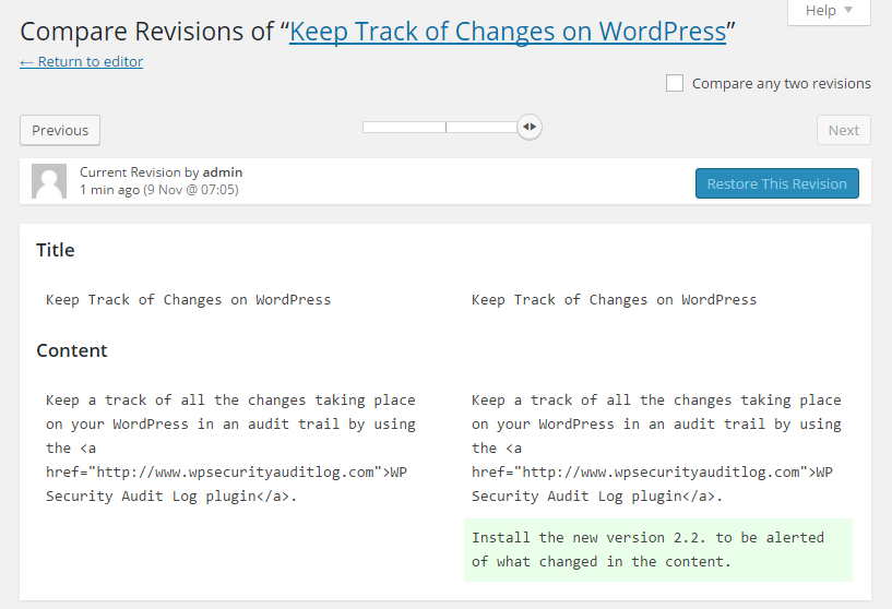WordPress revision highlights the content changes in a post