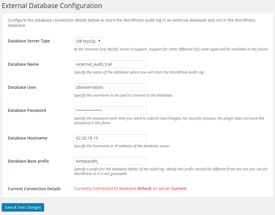 Configuring the database connection details to store the WordPress audit trail in an external MySQL database