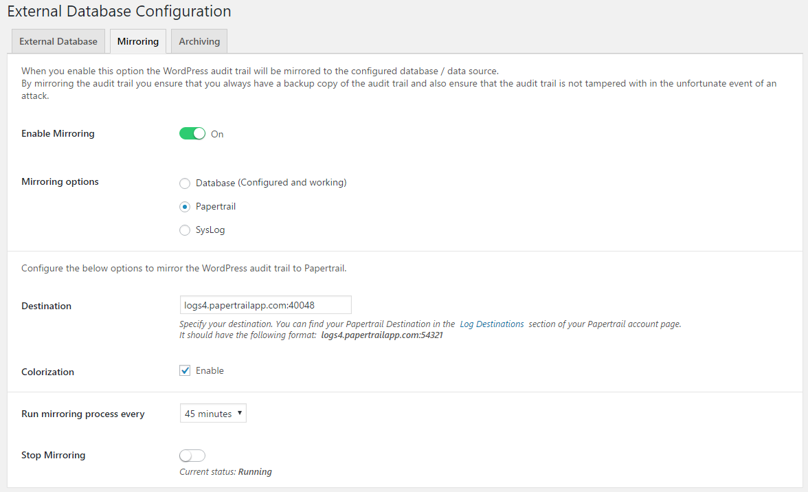 Mirroring the WordPress audit trail alerts to Papertrail or Syslog
