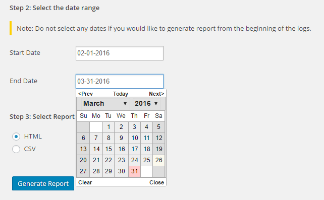 Specify the date range and format for your WordPress report