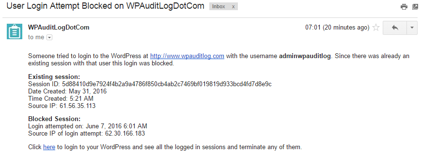 Email notification about a blocked WordPress user login