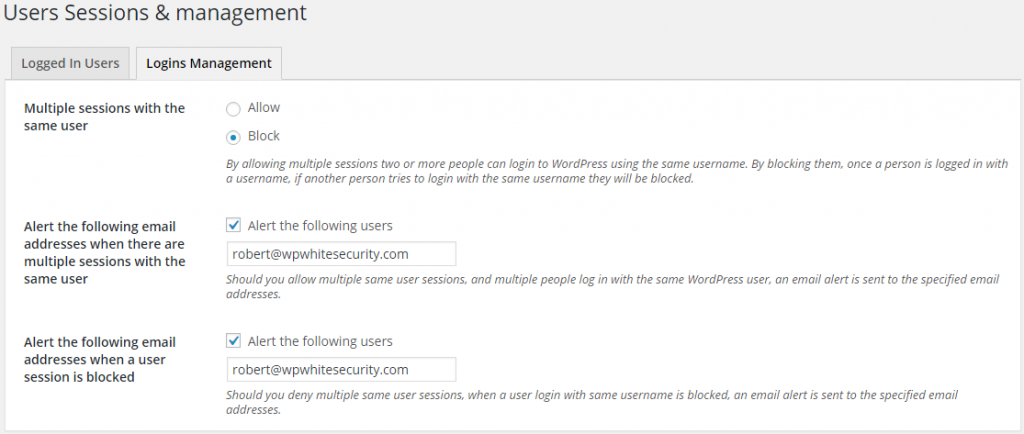 Disallow multiple sessions for the same WordPress user