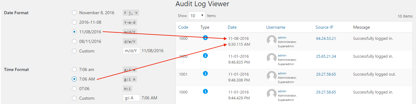 Configuring the WordPress date and time format settings for the Audit Trail