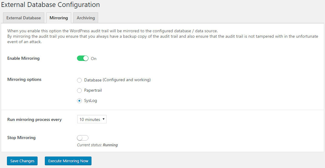 Mirroring the WordPress audit trail to the web server's syslog