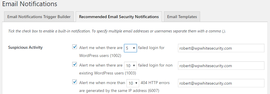 Configuring notifications for WordPress Audit Trail alerts that have a counter