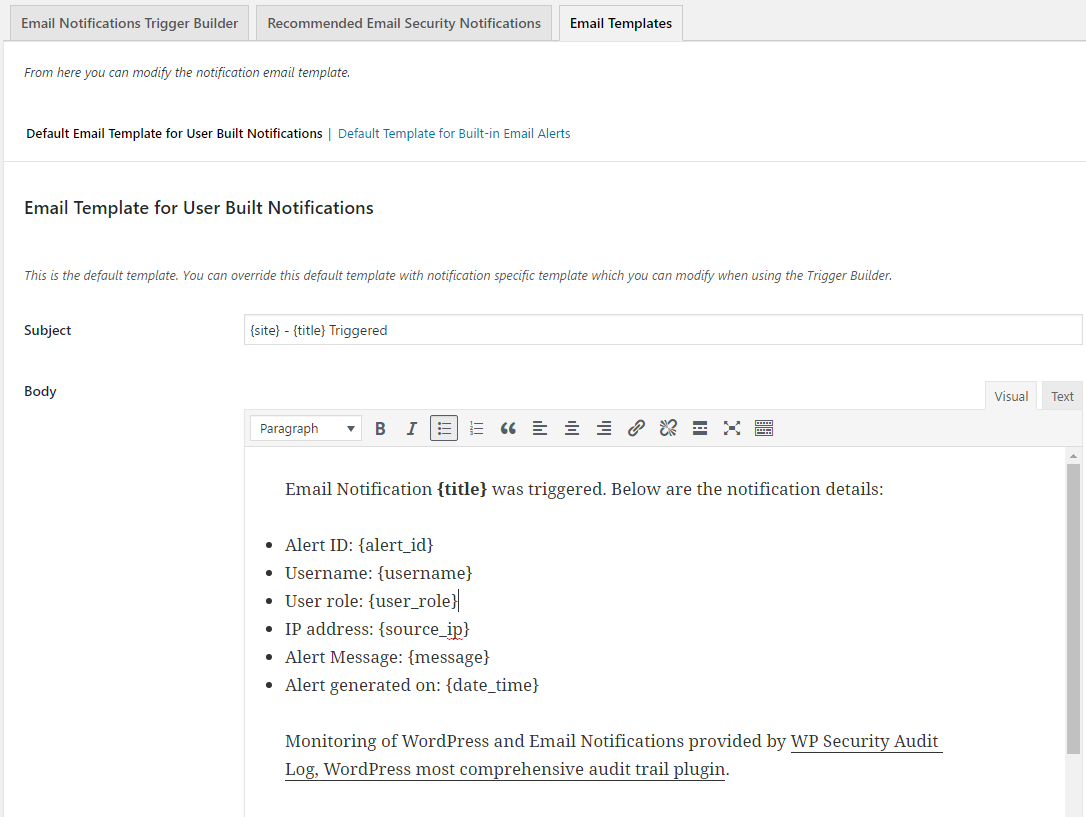 Editing the Email Notifications Templates | WP Security Audit Log