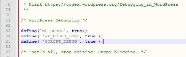 WordPress debugging options in wp-config.php file