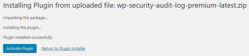 Activating the WP Activity Log Premium Edition