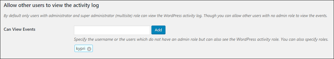 Setting to allow non administrators to view the WordPress activity log
