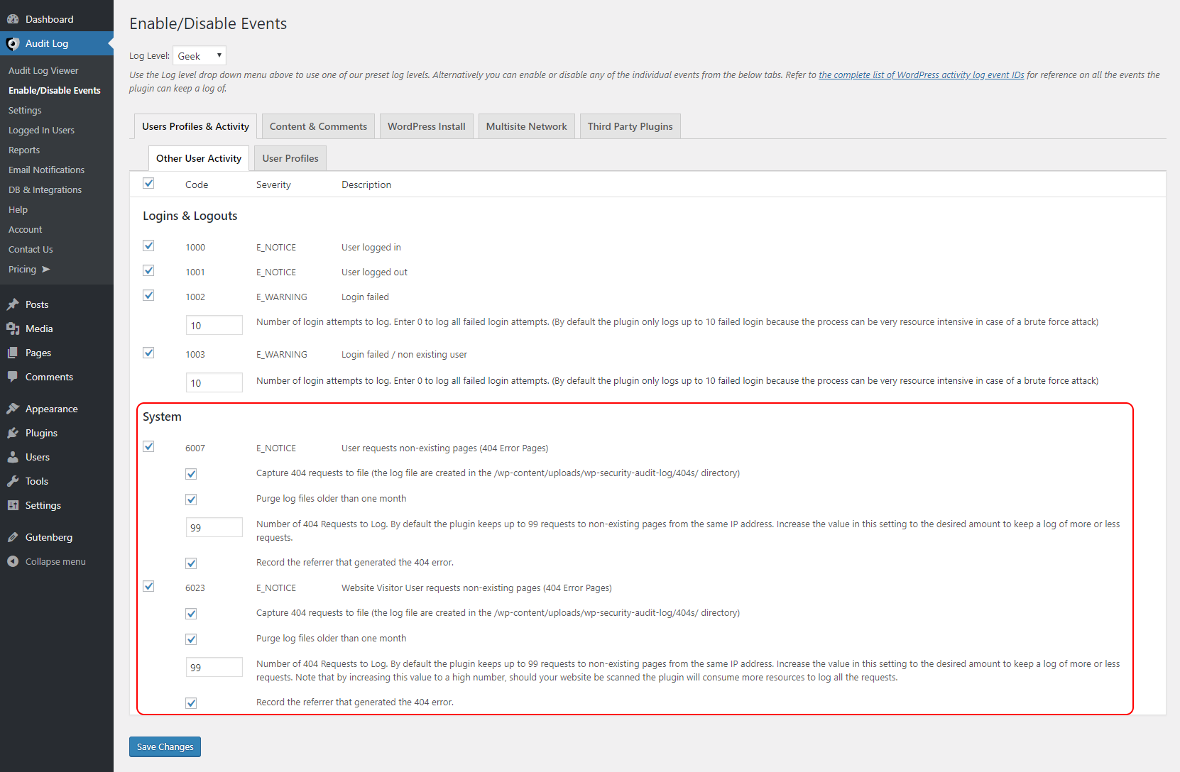 Configuring the logging of 404 Requests generated on your WordPress website