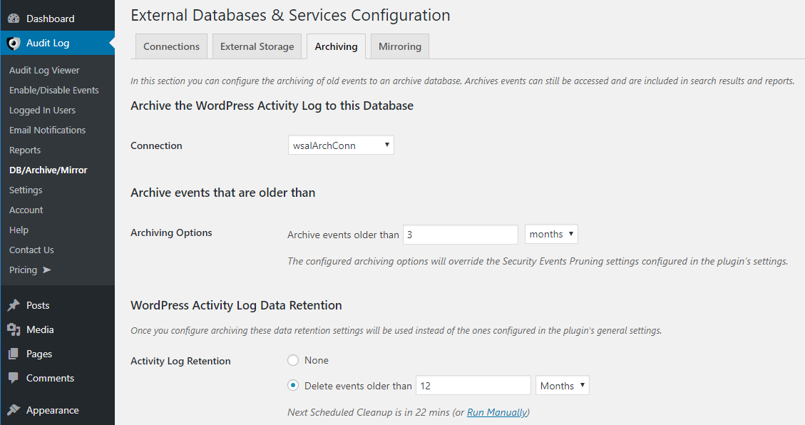 Configuring the archiving database for the activity log