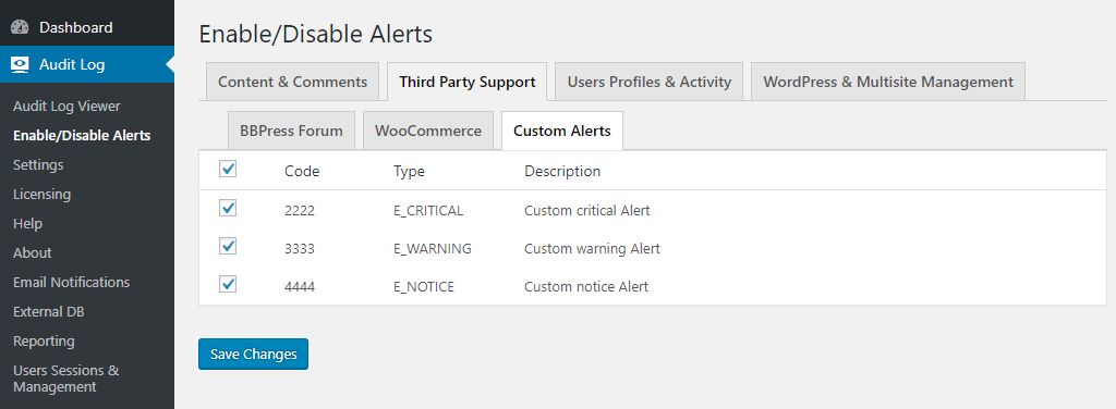 Custom alerts in WP Security Audit Log