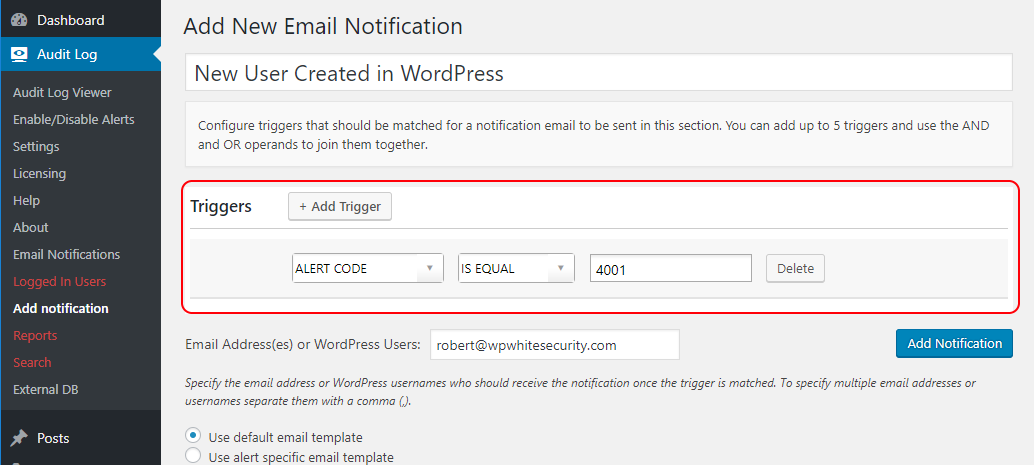 WordPress Email Notification for newly created user
