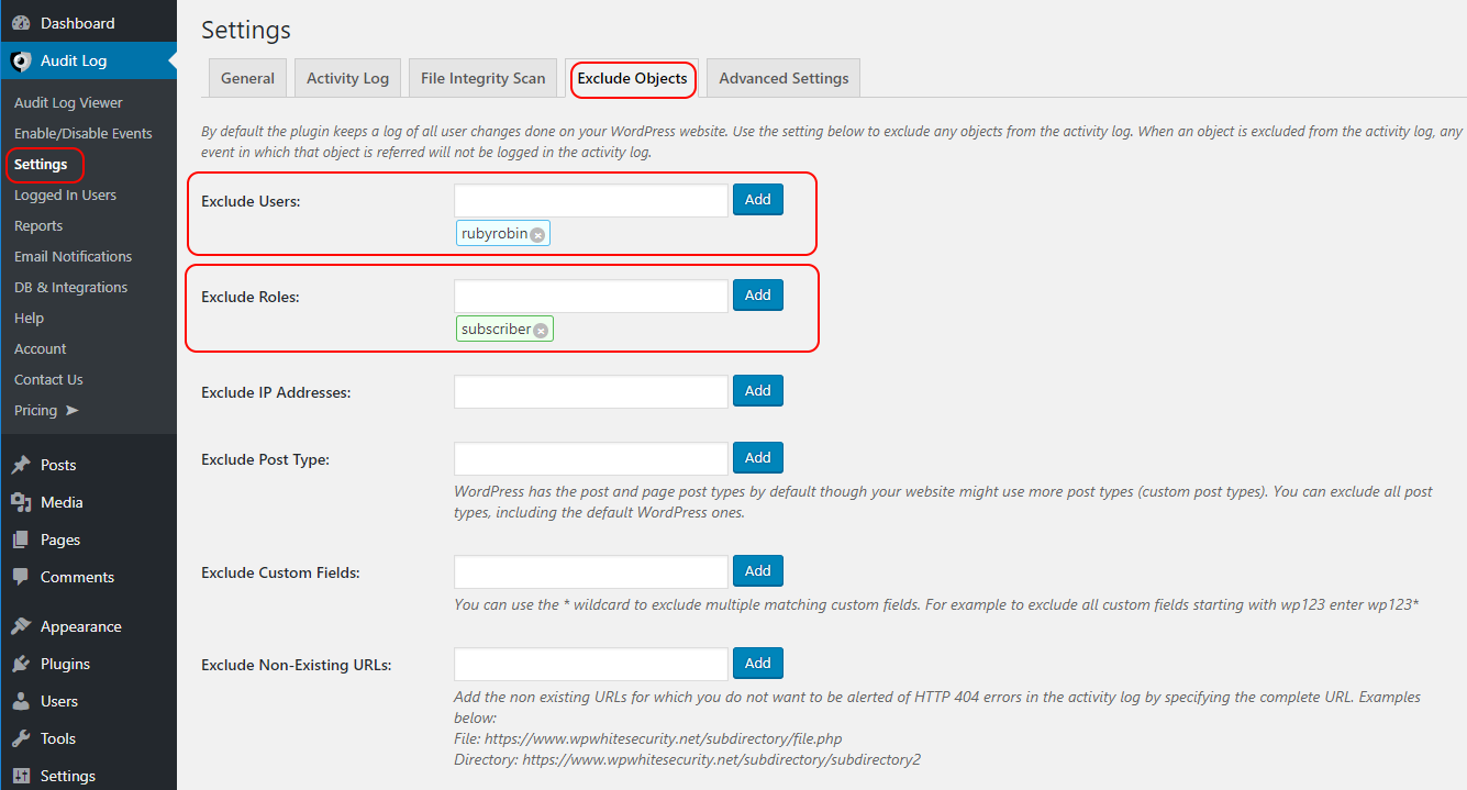 Settings to exclude either users or roles from the WordPress activity log