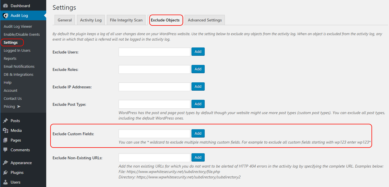 Excluding custom fields from the WordPress activity log