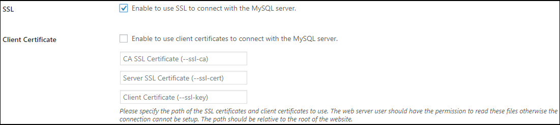 Configuring SSL and client certificates for the WordPress activity log external database