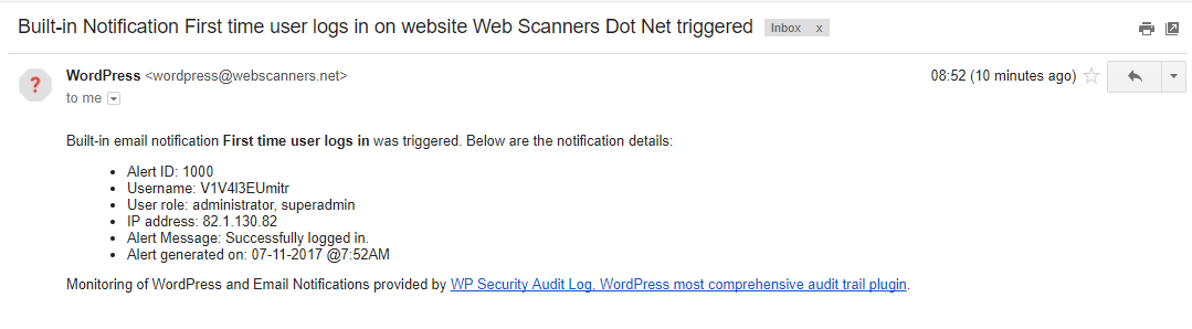 Email alert for first time a WordPress user logs in.