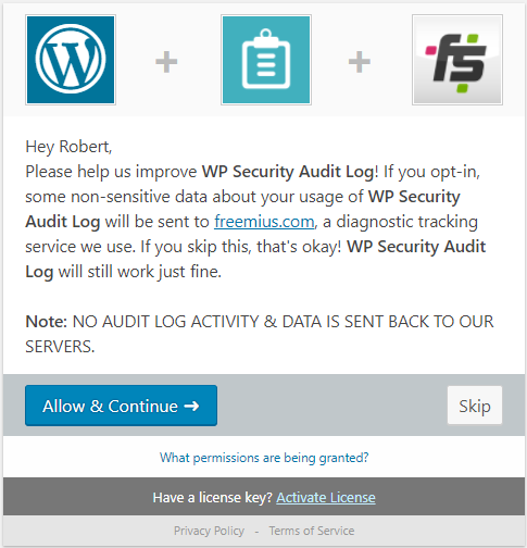 Freemius & WP Security Audit Log