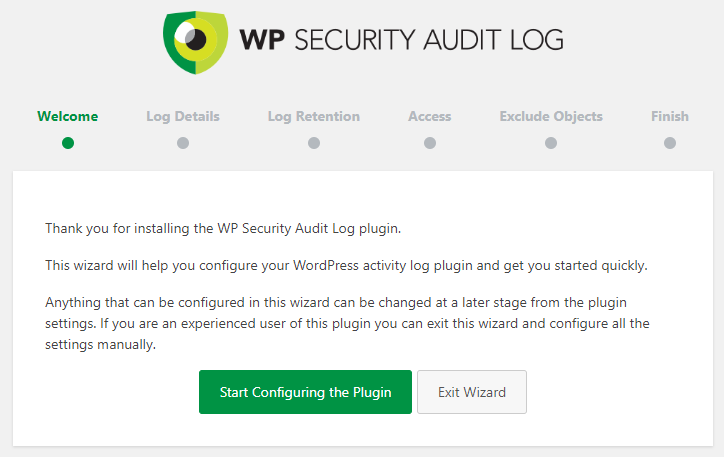WP Security Audit Log plugin startup wizard