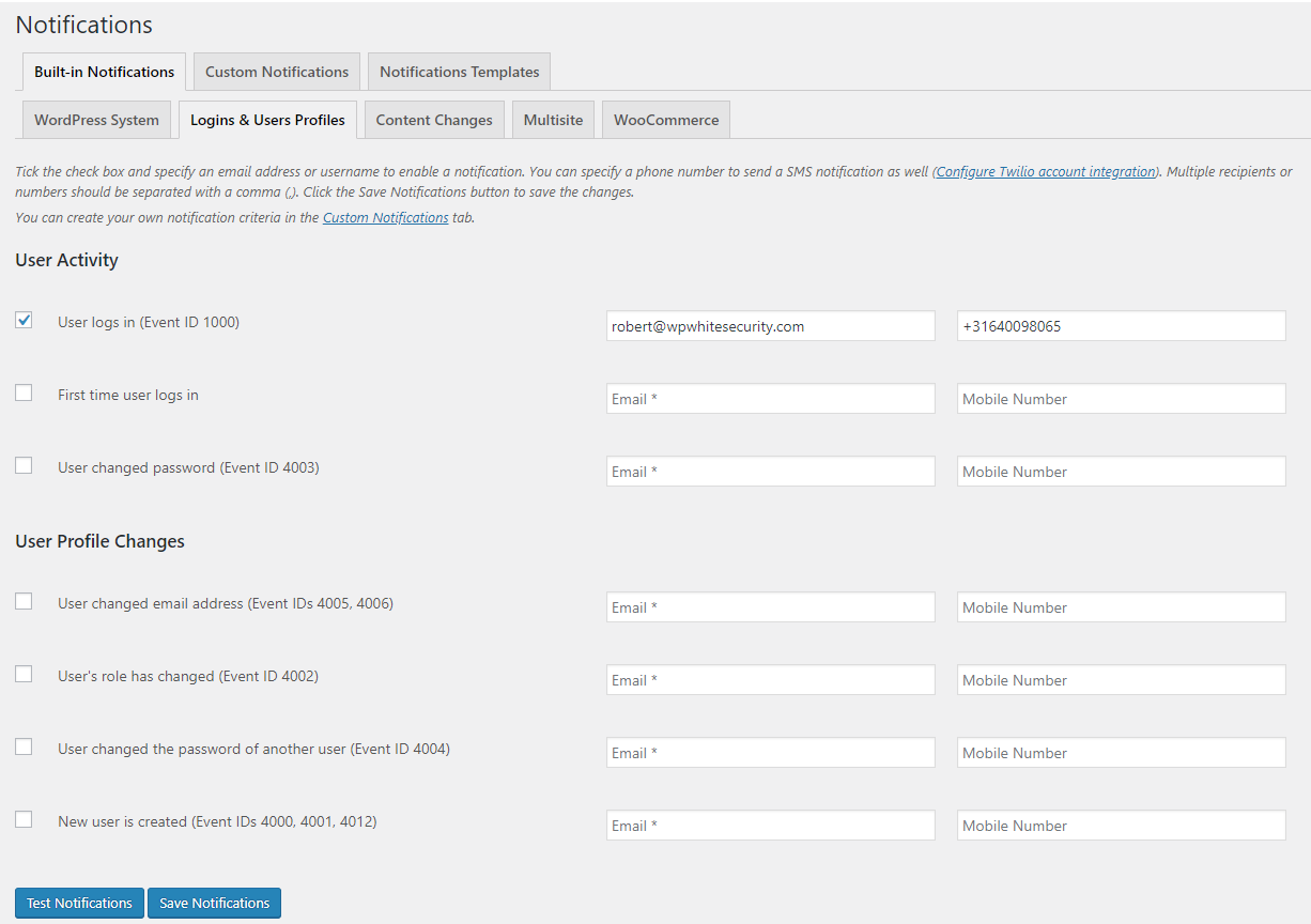 Pre-configured Email & SMS notifications