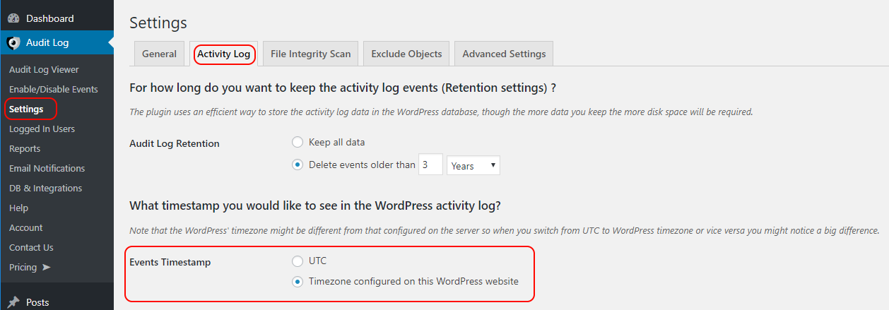 Settings to configure the timezone used for the display time in the WordPress activity log