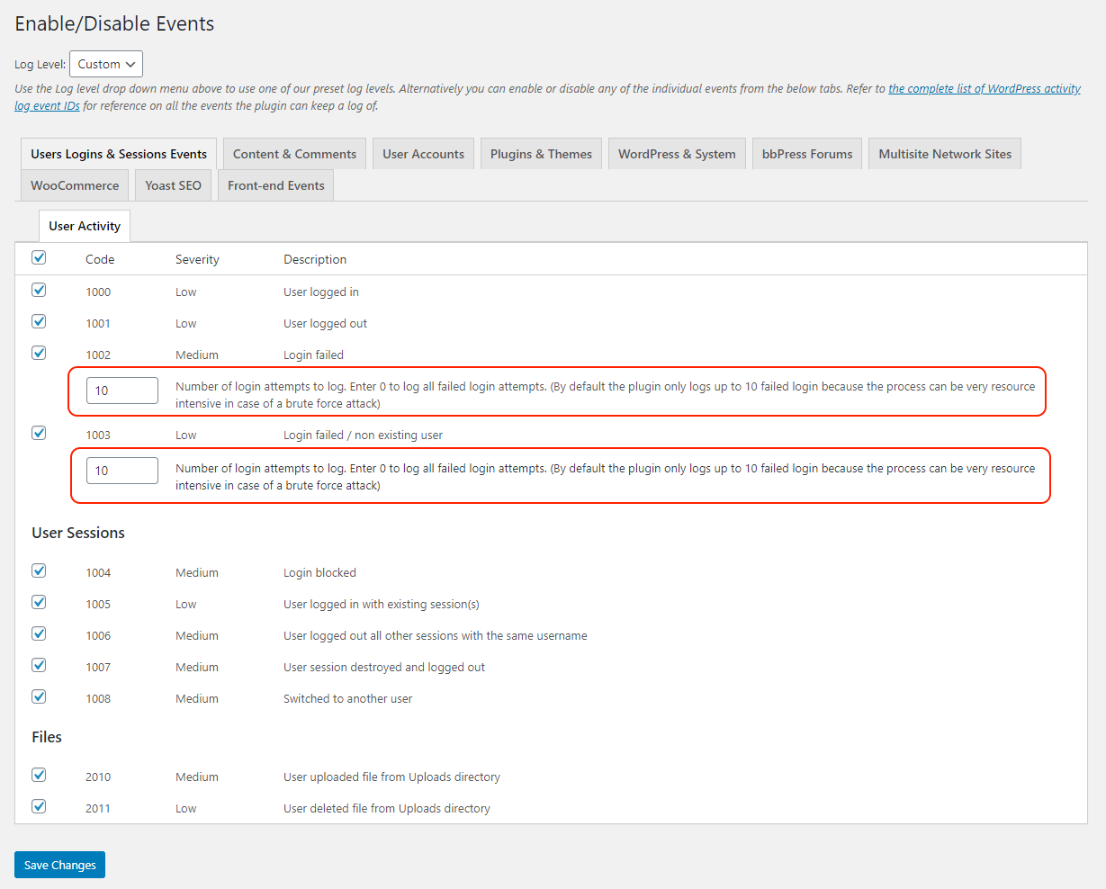 Configuring the events to record failed WordPress logins in the activity logs
