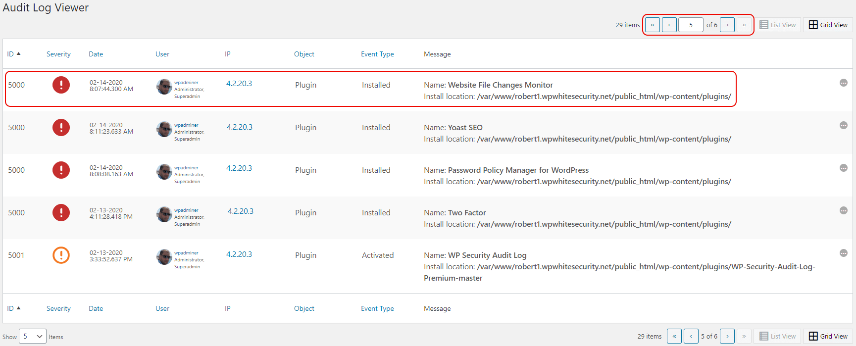 Looking for a specific event ID 5000 in the activity logs
