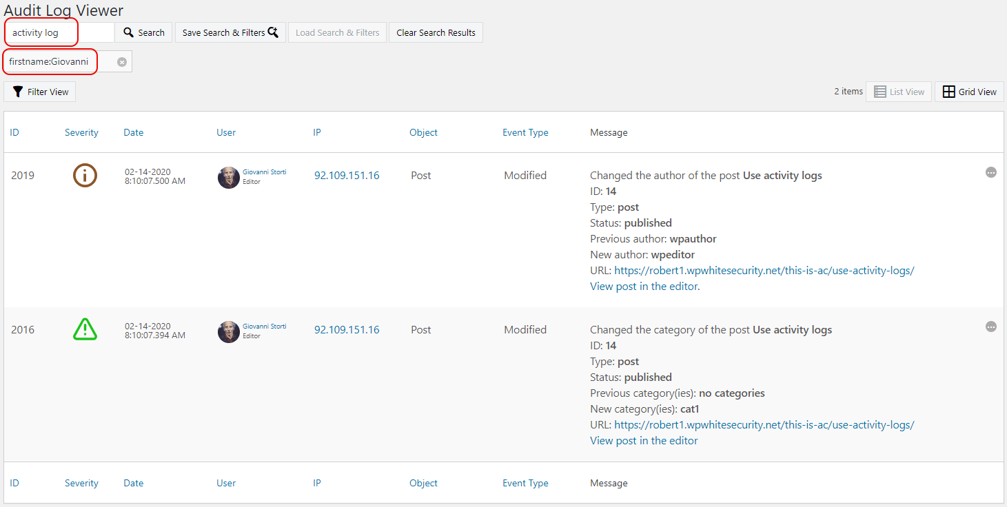 Searching in the activity logs and using the filters