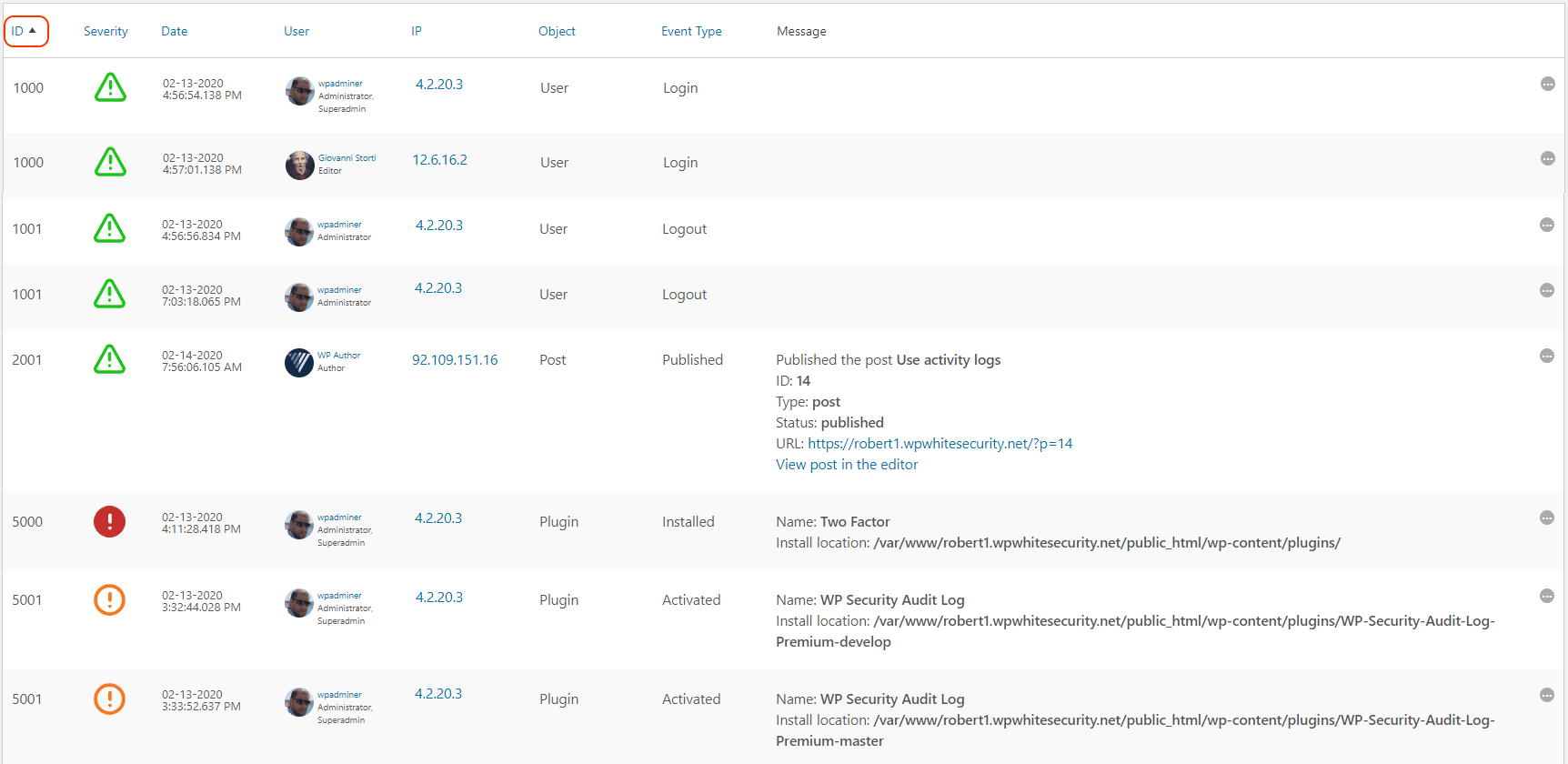 The WordPress activity log sorted by event ID