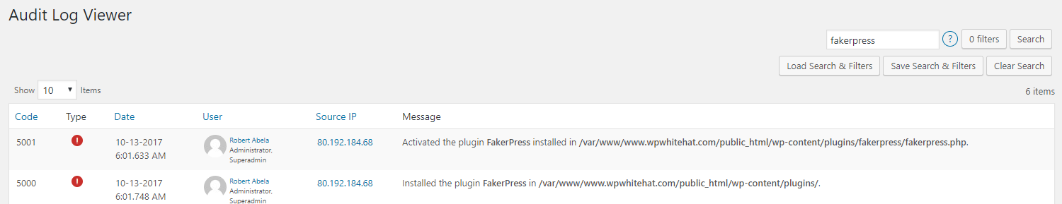 The Free-Text search in the WP Security Audit Log Plugin