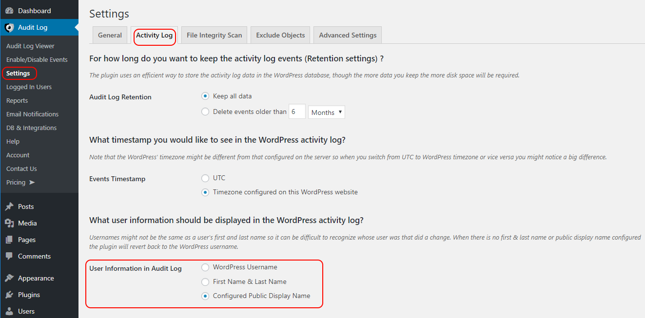 Configure the user information display for the WordPress activity log