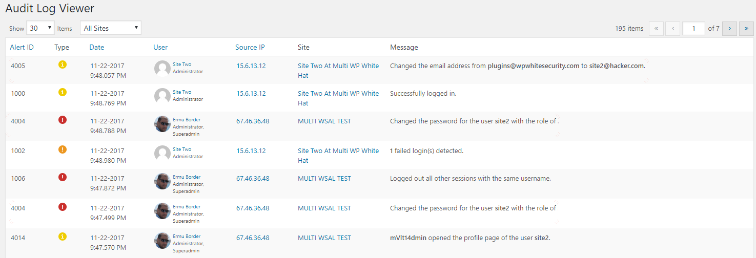 WordPress audit trail in the WP Security Audit Log plugin