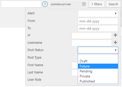 Post Type and Status Filters in Search