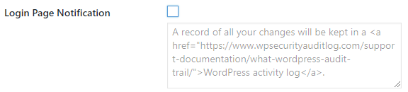 Disable the WordPress login page notification