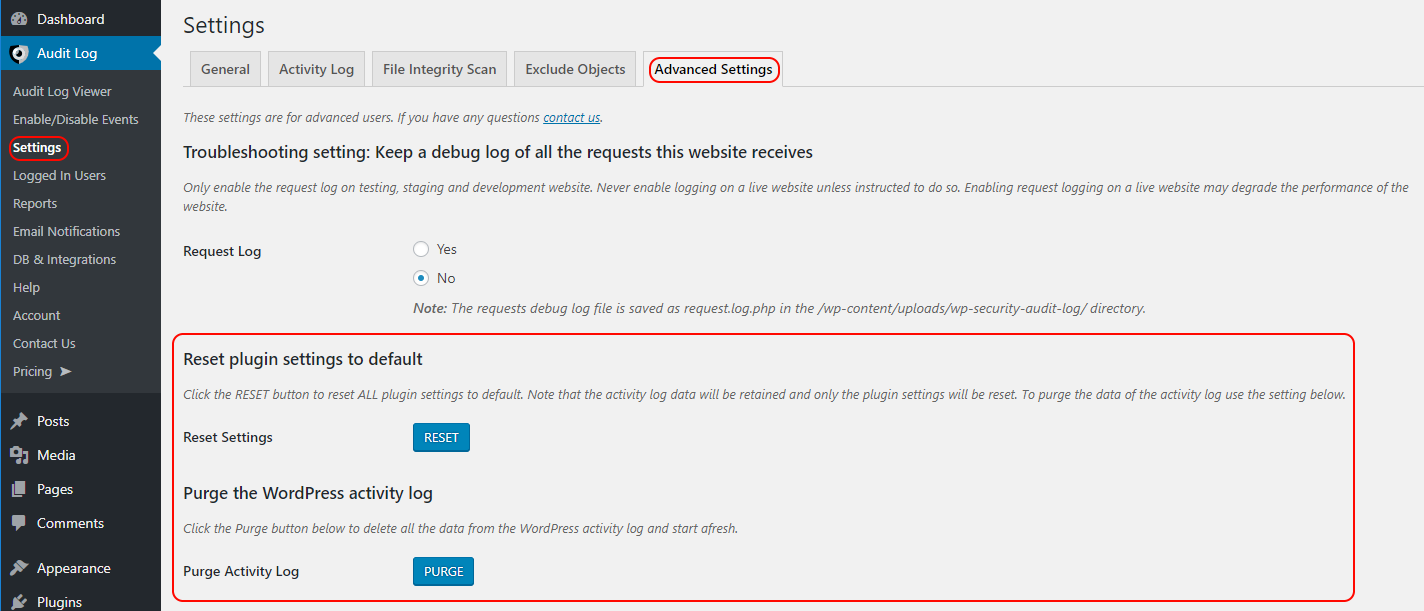 Settings to purge the WordPress activity log and reset the plugin settings to default