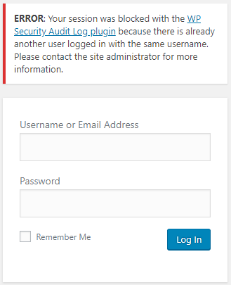 A WordPress user is blocked from logging in because the user is in use by another session.