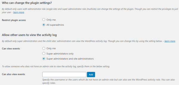 Configuring the plugin & activity log privileges on a multisite network