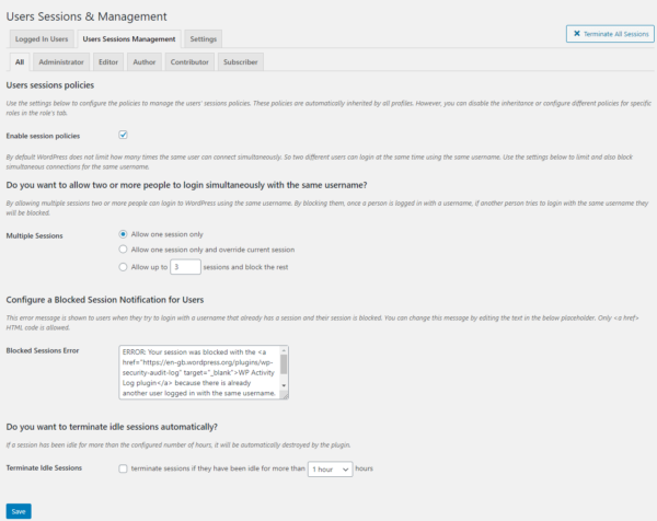 The WordPress users sessions management settings
