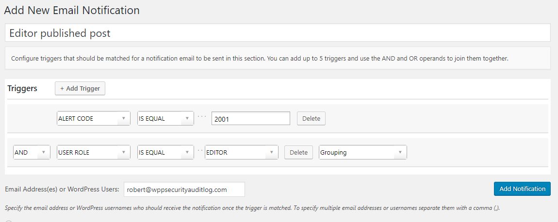 Configuring a WordPress email notification trigger
