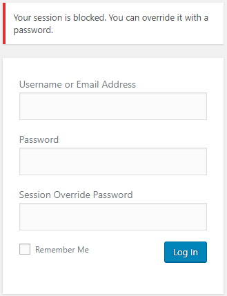 WordPress logged in session override