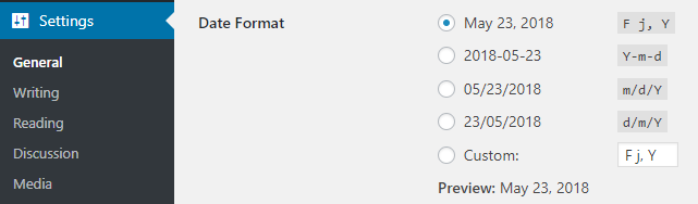Configuring the date format on a WordPress website from the settings