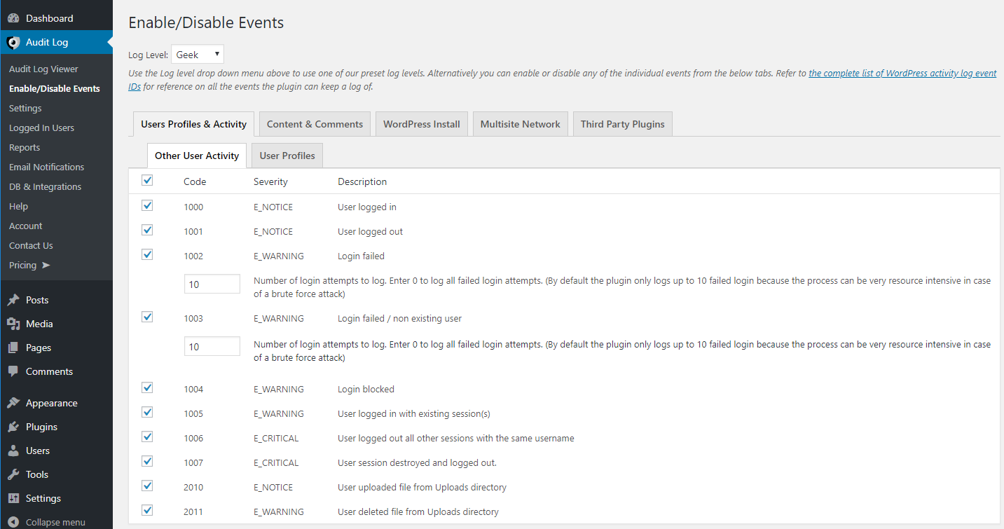 Enable / Disable WordPress activity log events