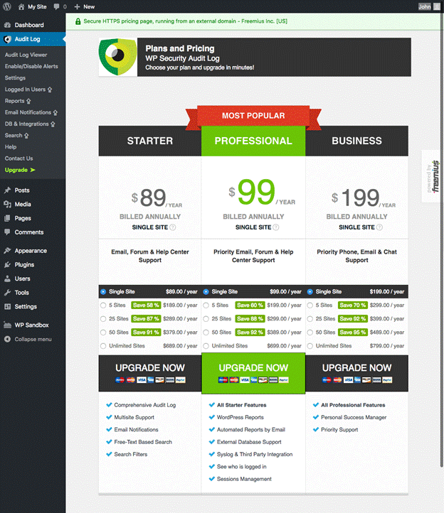 In-plugin pricing page