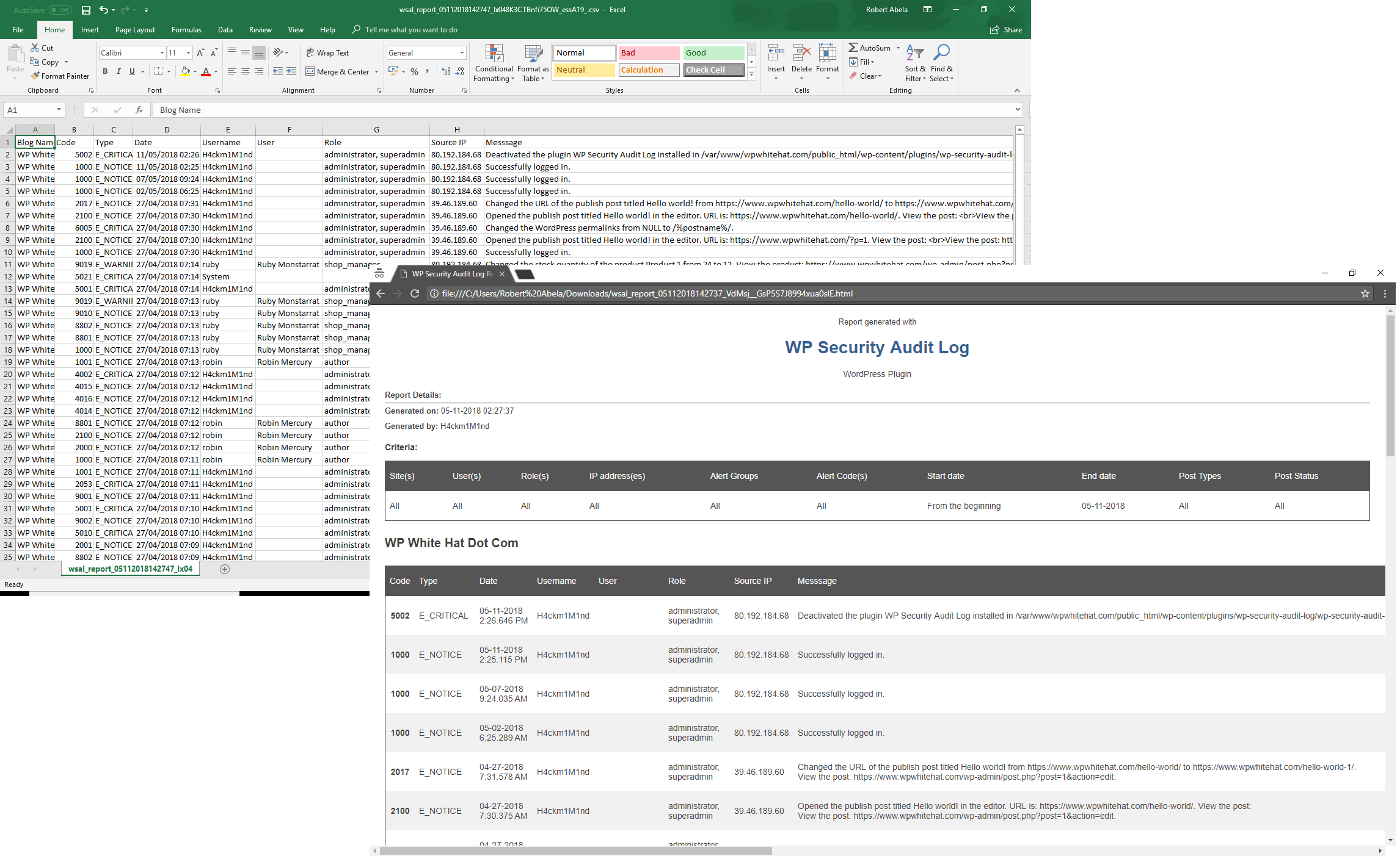 Different formats of WordPress reports