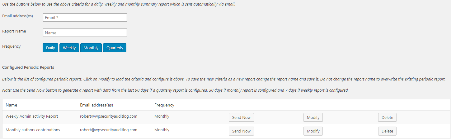 Schedule automated WordPress reports