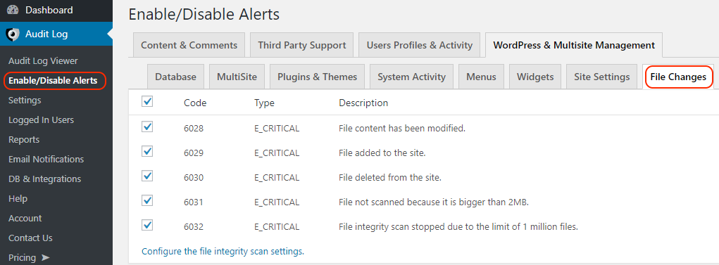Enabling and disabling WordPress file changes events