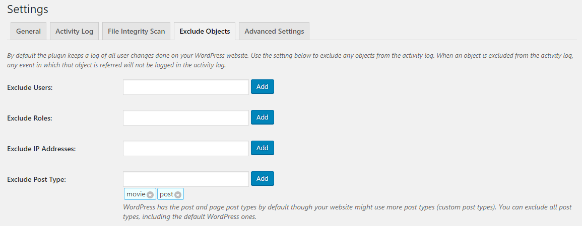 Excluding specific WordPress post types from the WordPress activity log