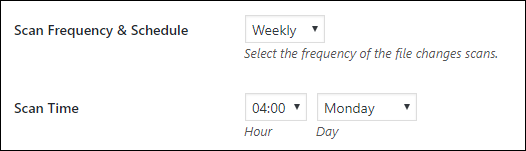 Configuring the schedule for the WordPress file changes scans